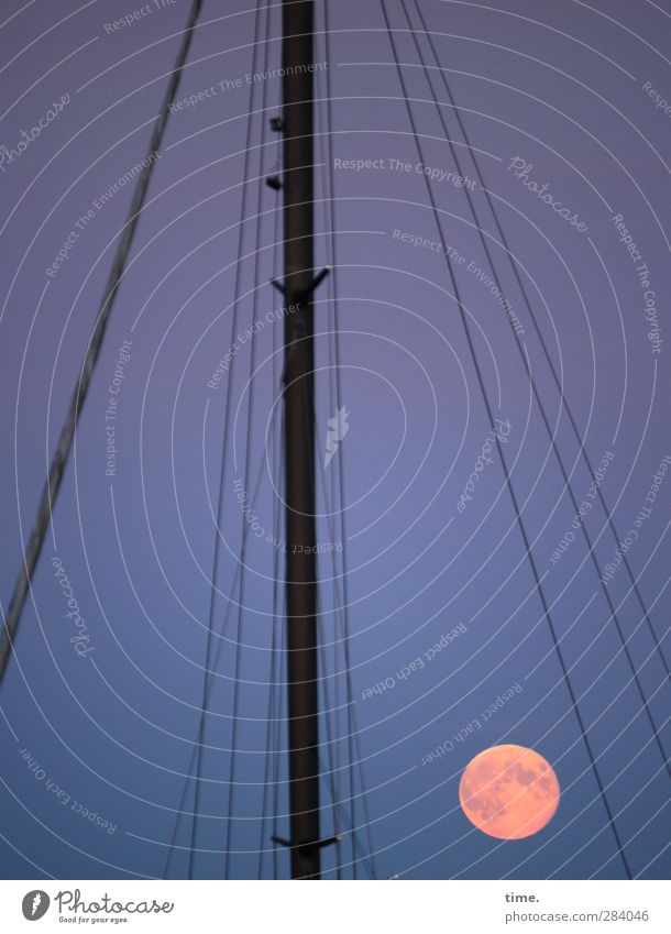 |. Sky Moon Full  moon Navigation Sailing ship Mast Rigging Moody Together Serene Patient Wanderlust Moonlight Colour photo Subdued colour Exterior shot