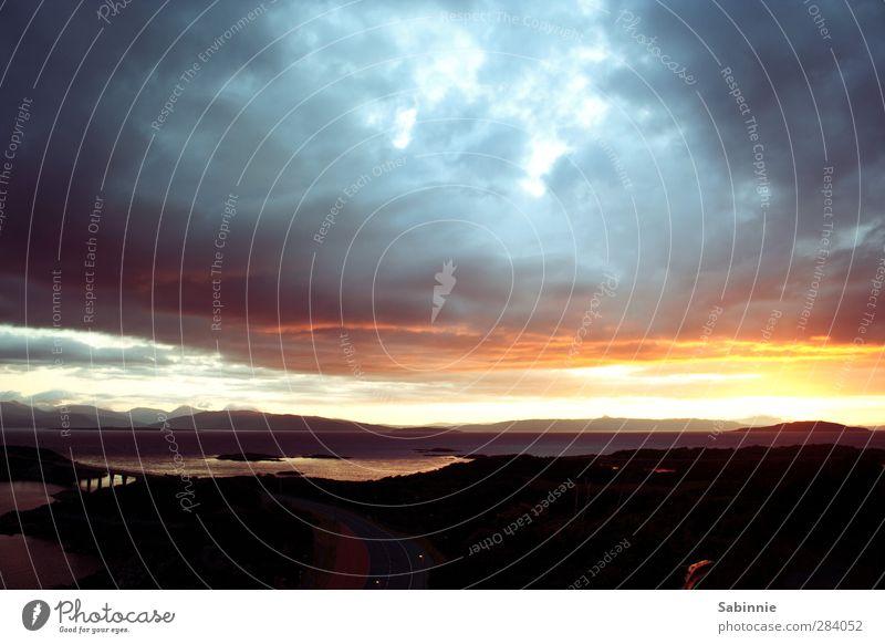 [Skye 05] Sunset Environment Nature Landscape Clouds Horizon Sunrise Sunlight Summer Climate Weather Beautiful weather Mountain Waves Coast Ocean Island