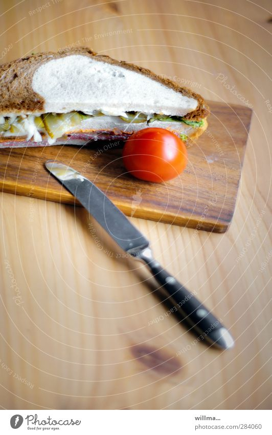 Wood Nutrition Appetite Delicious Breakfast Bread Dinner Knives Tomato Chopping board Sausage Wooden table Sandwich Slices of cucumber White bread Black bread