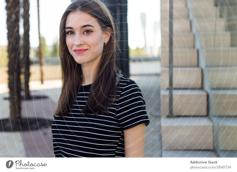 Portrait of beautiful young woman posing in the street. Girl Fashion Model Town Youth (Young adults) Style Easygoing Street Caucasian Portrait photograph