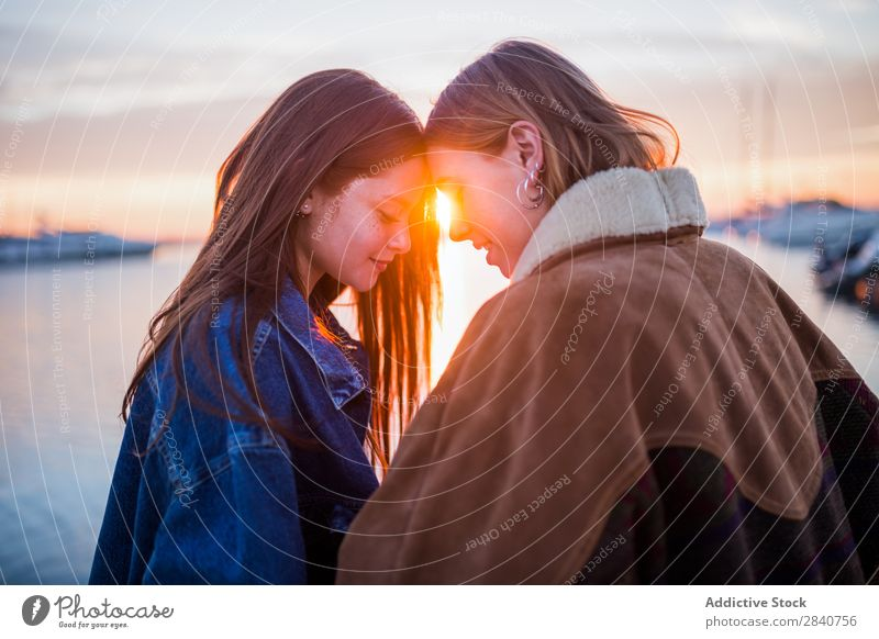 Cute couple of women having fun at sunset Winter Girl Youth (Young adults) Human being Lifestyle Sunset Happy Couple Friendship Woman Together Beautiful Love
