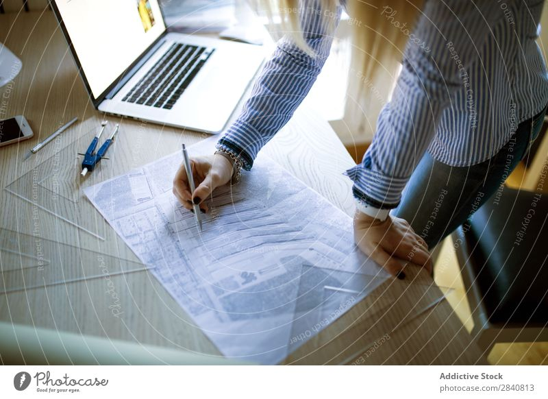 Young architect working at home drawing plans Home Woman Architect Work and employment Drawing Plan Office Notebook Business Desk Businesswoman Easygoing