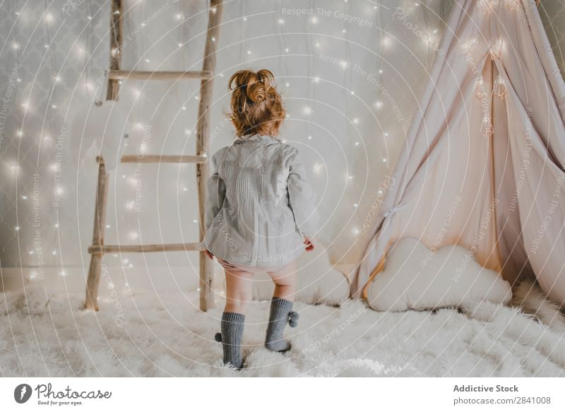 Little girl walking about kid's room Christmas & Advent Small Girl Walking Child Youth (Young adults) Cute Human being 1 Beautiful Delightful Interior shot