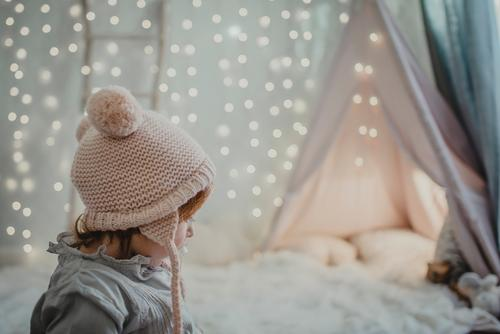 Little girl's profile Christmas & Advent Profile Small Girl magical Wonder Light soft focus Child Human being Cute 1 Delightful Beautiful Infancy pretty Side