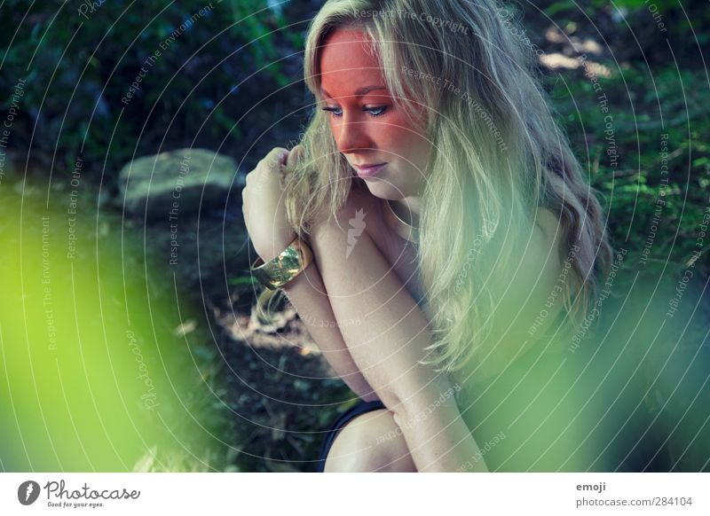 forest Feminine Young woman Youth (Young adults) 1 Human being 18 - 30 years Adults Environment Nature Landscape Forest Blonde Long-haired Hip & trendy