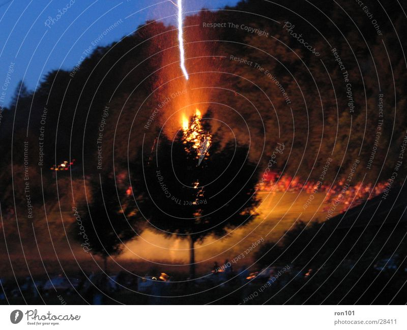 Behind The Tree Lightning Black Night Blaze mountain bonfire Blue Burn flash