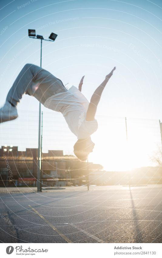 Chico Parkour backflip Man backlit Sports Youth (Young adults) Lifestyle Jump Human being Action Athlete Height Fitness City Street Healthy Athletic