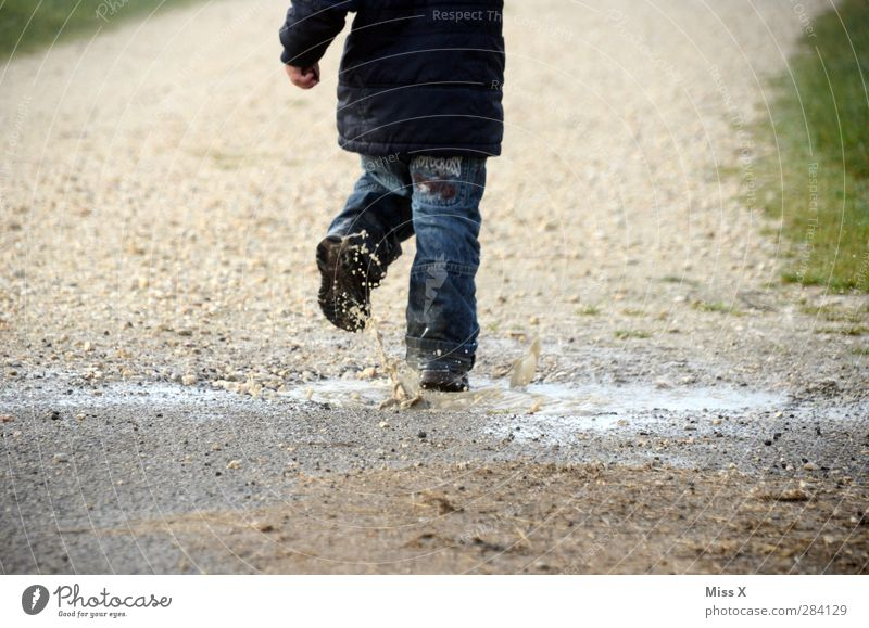 Wet Playing Child Toddler 1 Human being 1 - 3 years Water Drops of water Autumn Fog Rain Dirty Cold Puddle Running Hop Inject Colour photo Exterior shot