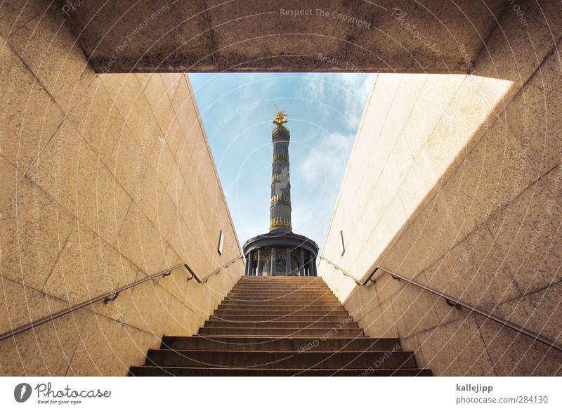 X Capital city Stairs Tourist Attraction Landmark Monument Honor Bravery Self-confident Victory column Berlin Upward Underpass Tunnel Banister Sieg Success