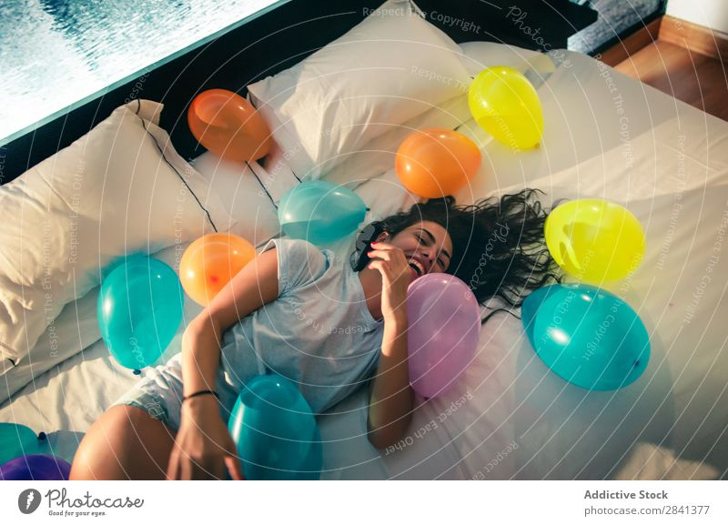 Girl having fun at night in her room Loneliness Attractive Beautiful Bed Brunette Easygoing Caucasian Cheerful Safety (feeling of) delighted Dream European