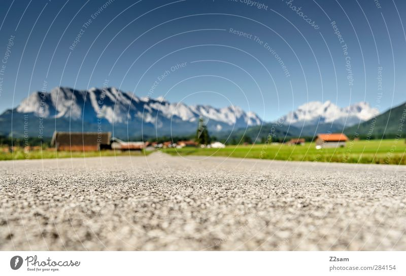 on the road again Vacation & Travel Tourism Summer vacation Mountain Nature Landscape Cloudless sky Horizon Meadow Alps Village Hut Street Far-off places