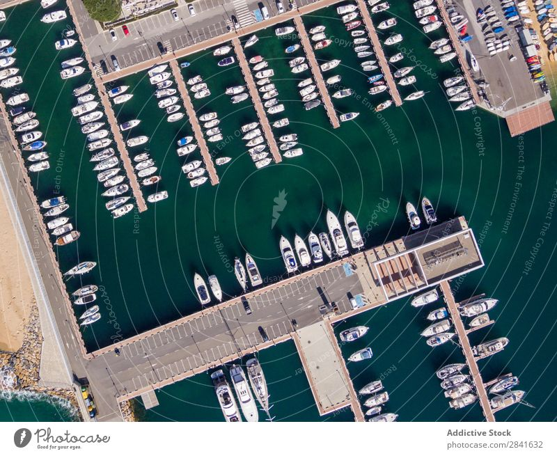 Aerial views of a fishing port in the Mediterranean. Aircraft Bay Beach Beautiful Blue Watercraft City Coast Destination Eyes Fishery Harbour Vacation & Travel