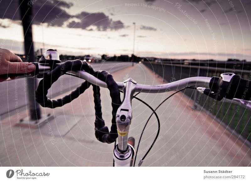 wing way. Hand Transport Street Driving Bicycle Cycling Bicycle handlebars Lock Evening sun Bridge railing Sky Clouds Ladies' bicycle Colour photo Exterior shot