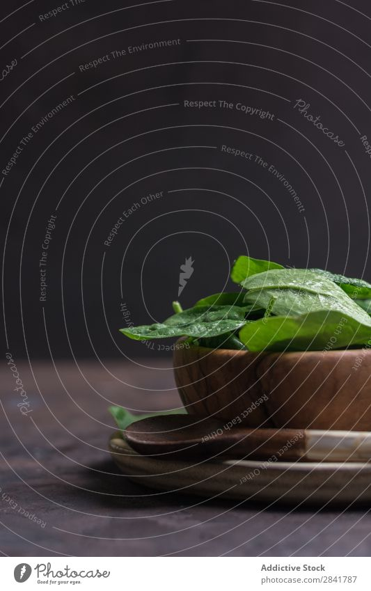 Wooden dish filled with fresh spinach leaves Agriculture Background picture Cooking Dark Diet dieting Eating Food Fresh Garden Green Healthy Heap Ingredients