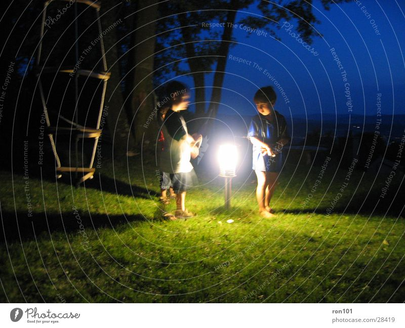 Child Boy (child) Playing Group Lantern