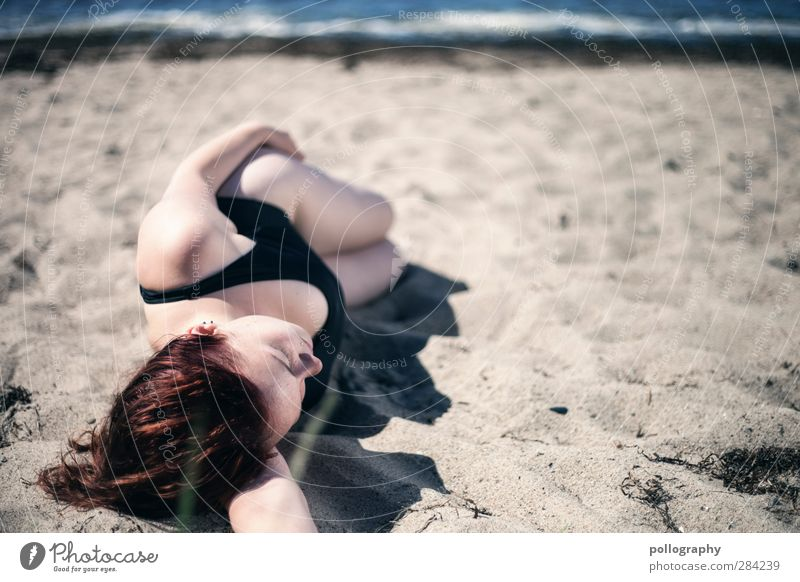 Human being Woman Nature Youth (Young adults) Beautiful Summer Ocean Beach Calm Relaxation Adults Young woman Feminine Life Coast Sand