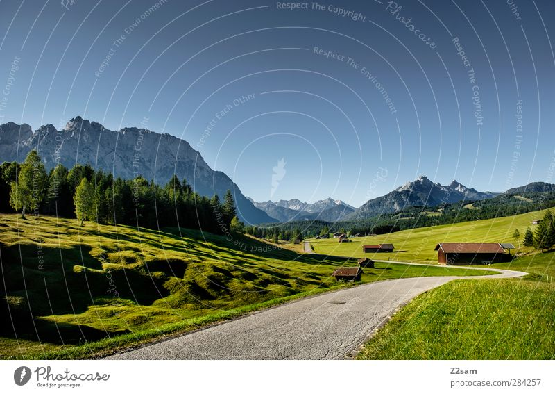Karwendel Mountains Vacation & Travel Nature Landscape Cloudless sky Summer Beautiful weather Meadow Forest Alps Far-off places Natural Calm Loneliness