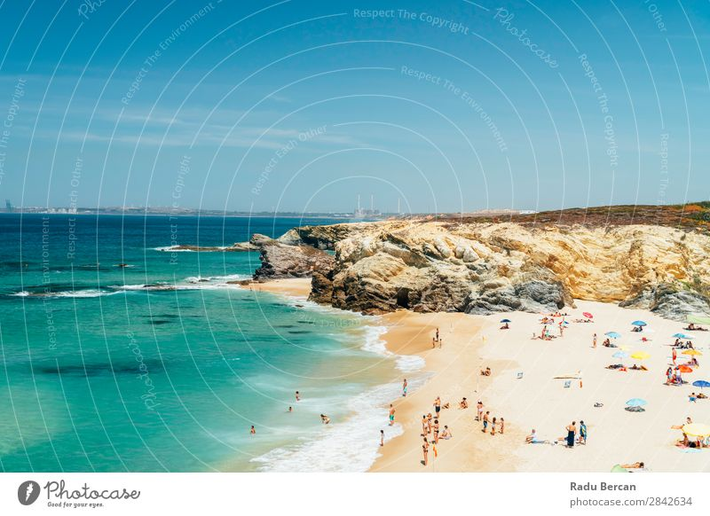Tourists Having Fun In Water, Relaxing And Sunbathing At Beach In Portugal seascape Beautiful Rock Ocean Lagos Human being Relaxation Vacation & Travel crowd