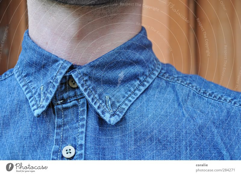 TOGGLE KNOBS Masculine Young man Youth (Young adults) Neck Larynx Beard hair Shirt Buttonhole Buttons denim shirt Hip & trendy Nerdy Demanding Stitching