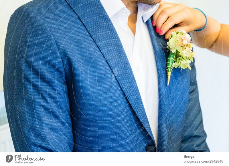 Beautiful boutonniere of the groom Luxury Elegant Design Happy Decoration Feasts & Celebrations Wedding Human being Man Adults Nature Flower Fashion Clothing