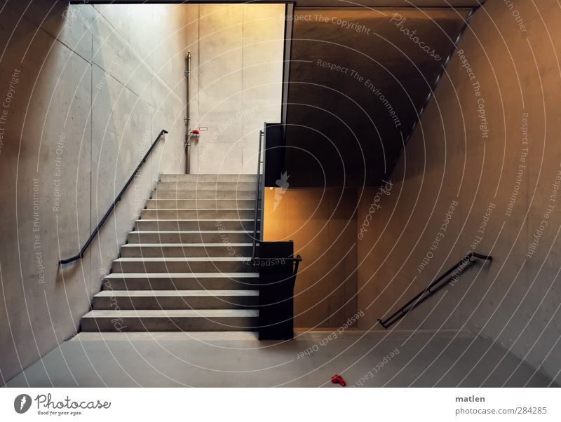 Lost Deserted House (Residential Structure) Wall (barrier) Wall (building) Stairs Brown Gray Red rag Handrail Parking garage Concrete Colour photo Interior shot