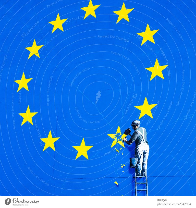 Art work by Banksy in Dover, craftsman chisels a star from the EU flag Economy Trade European flag Man Adults 1 Human being community of states Sign Graffiti