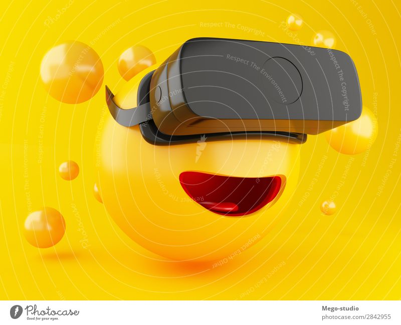 3d Emoji with VR headset. Joy Yellow Funny Emotions Laughter Happy Playing Friendship Modern Glittering Technology Smiling Mouth Cute Illustration