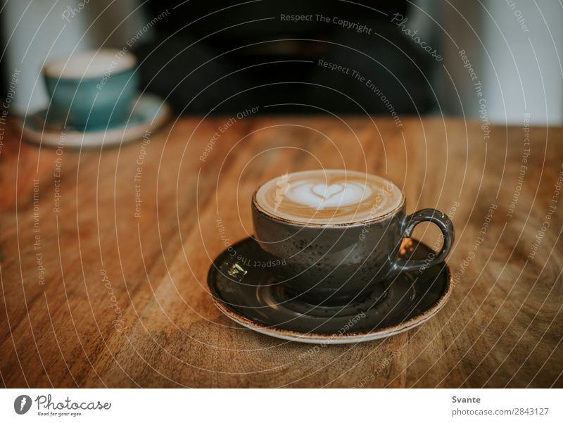Coffee cup on wooden table Beverage Hot drink Latte macchiato Espresso Cup Mug Lifestyle Elegant Style Joy Café Drinking Heart Latte art Together Colour photo
