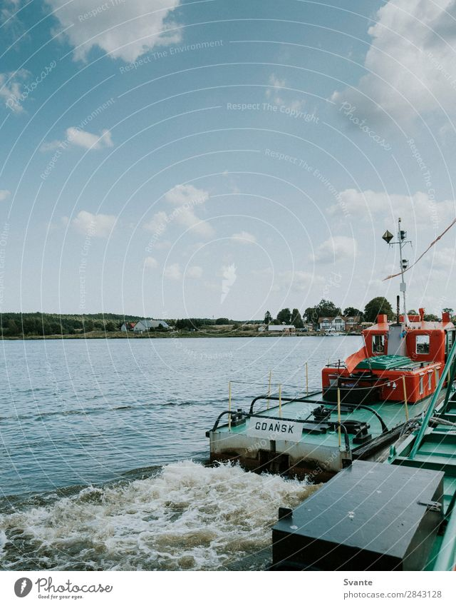 Ferry over river in Poland Vacation & Travel Tourism Trip Summer Waves Water River bank Adventure Boating trip Watercraft Gdánsk Blue sky Colour photo