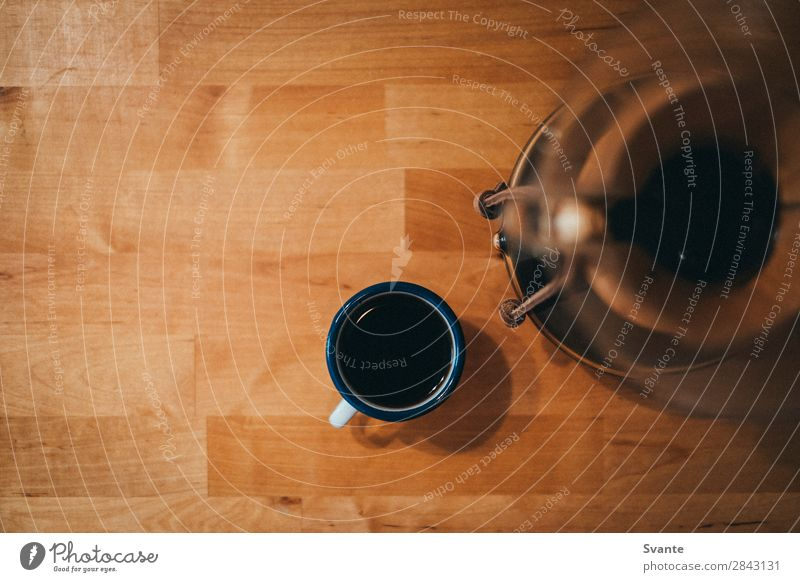 Top view of espresso cup Beverage Hot drink Coffee Espresso Cup Mug Berlin Wooden table Chemex Colour photo Interior shot Copy Space left Copy Space top Morning