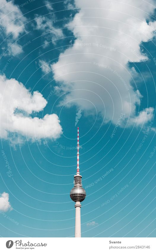 Berlin TV Tower Vacation & Travel Tourism Trip Sightseeing City trip Town Capital city Architecture Landmark Blue Clouds GDR Colour photo Exterior shot Deserted