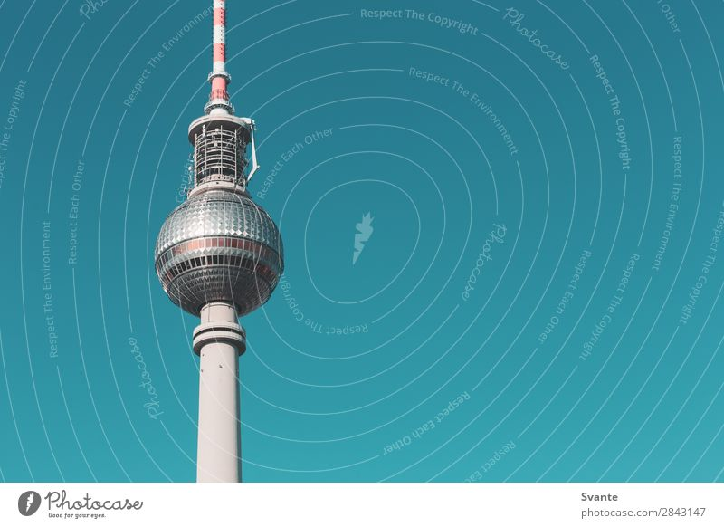 Berlin TV Tower Vacation & Travel Tourism Trip Sightseeing City trip Germany Landmark Blue Colour photo Exterior shot Deserted Copy Space right Copy Space top