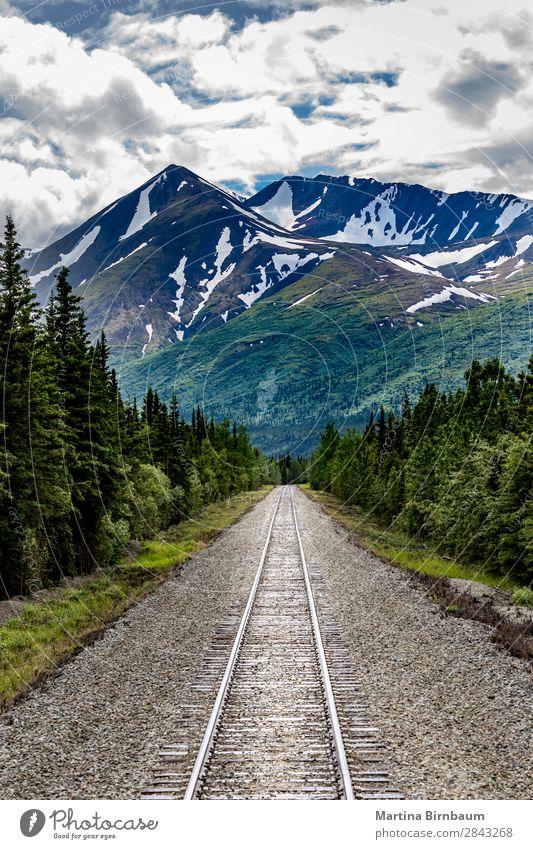 Railroad to Denali National Park, Alaska Vacation & Travel Tourism Adventure Freedom Mountain Nature Landscape Sky Peak Snowcapped peak Rail transport