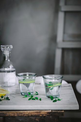 Two glasses of refreshing water Water Glass Lemon Table Refreshment citrus Fresh Drinking Fruit Beverage Healthy Slice Liquid soda Diet Natural Food