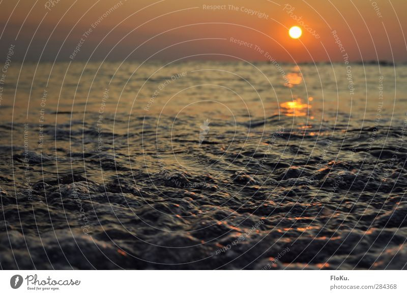 the North Sea bubbles in the evening Vacation & Travel Far-off places Freedom Summer Ocean Waves Environment Nature Elements Water Sky Sunrise Sunset Sunlight