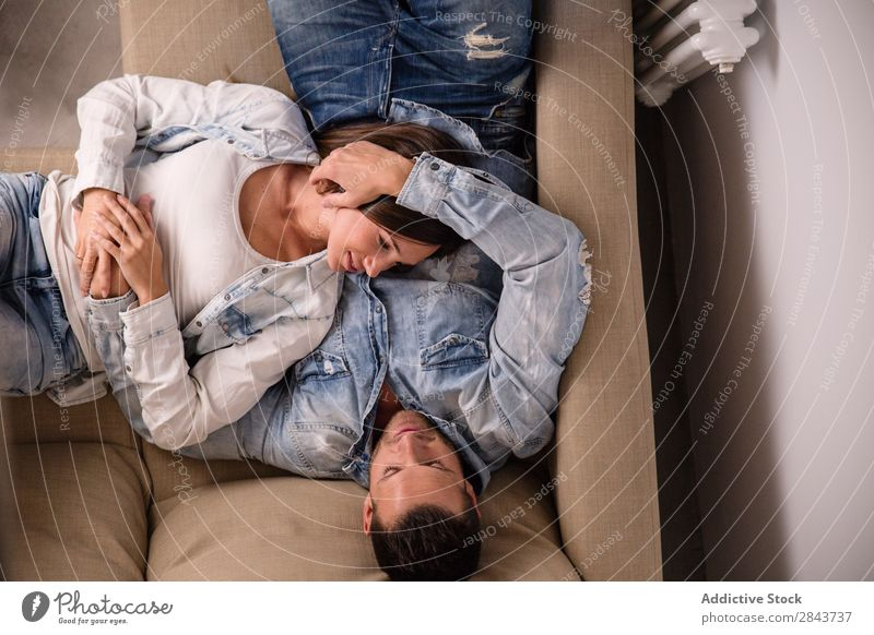 Couple relaxing on couch Home Relaxation Happy Man Living room Lie (Untruth) Sleep Rest Sofa Couch Woman Love Together House (Residential Structure) Easygoing