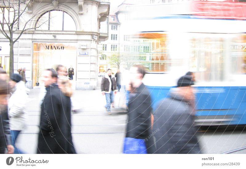 railway station street Bahnhofstrasse Tram Transport Human being Zurich shopingmal Blue