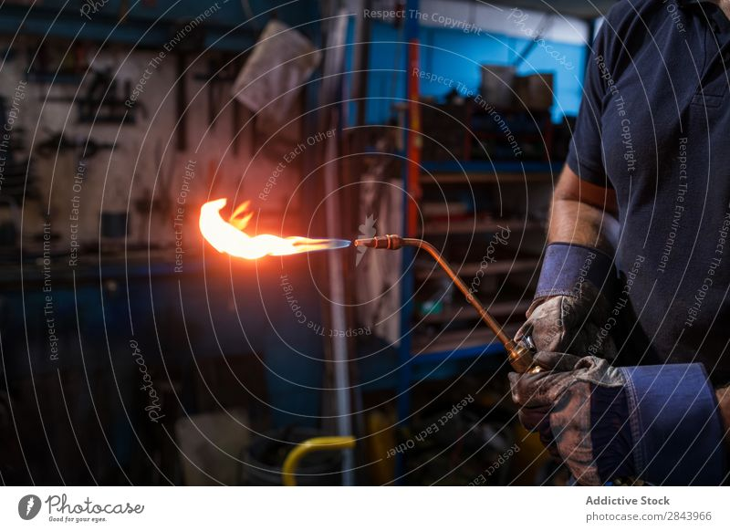 worker welding Employees & Colleagues Welding metalworking Welder oxyacetylene Flame Pipe Mask Metal Bright Equipment Garage Construction Industry Steel