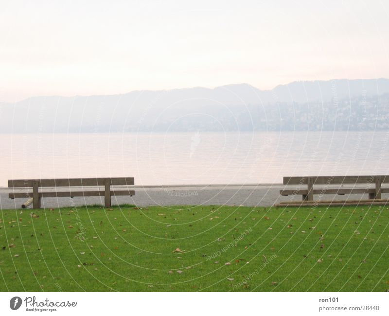 enjoy the silence..... ... .. . Lake Meadow Leaf Hill Calm Green Wood Bench Lawn Mountain Water Nature Blue Sit