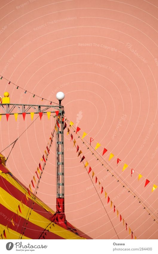 circus Deserted Manmade structures Building Architecture Circus tent Pylon Roof Multicoloured Yellow Pink Red Flag Striped Tarpaulin guy Carrier Fire wall