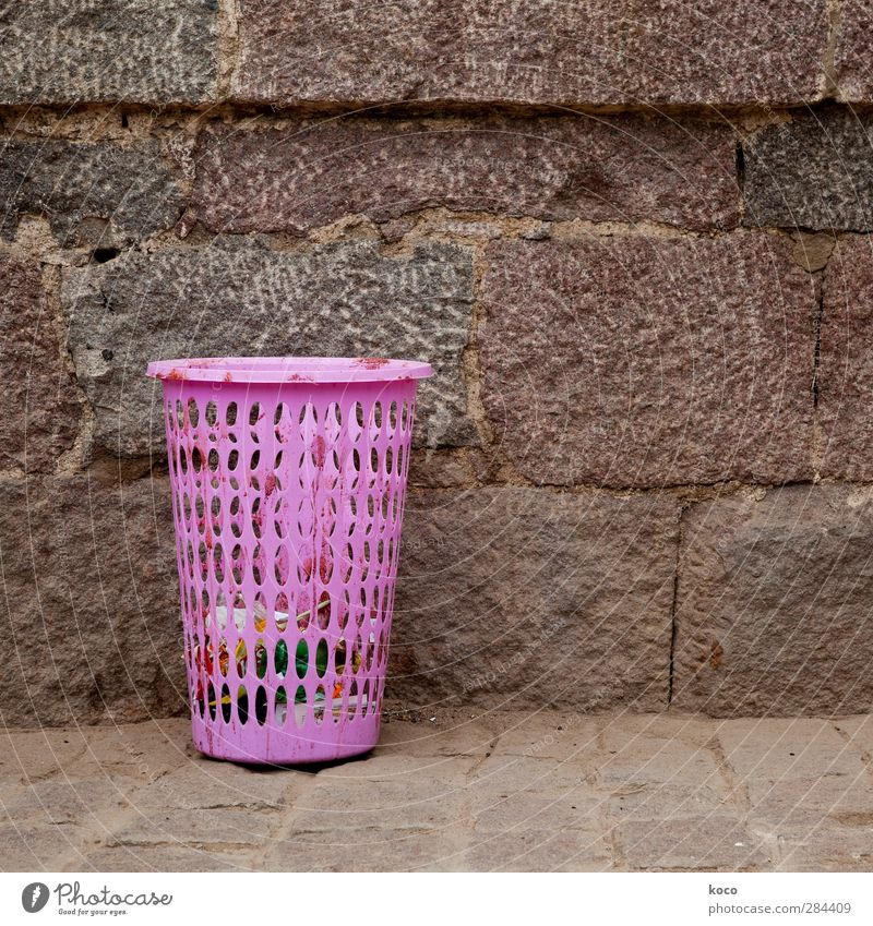 Wall (building) Wall (barrier) Sand Stone Brown Pink Dirty Simple Clean Plastic Trash Trashy Brash Container Trash container Purity