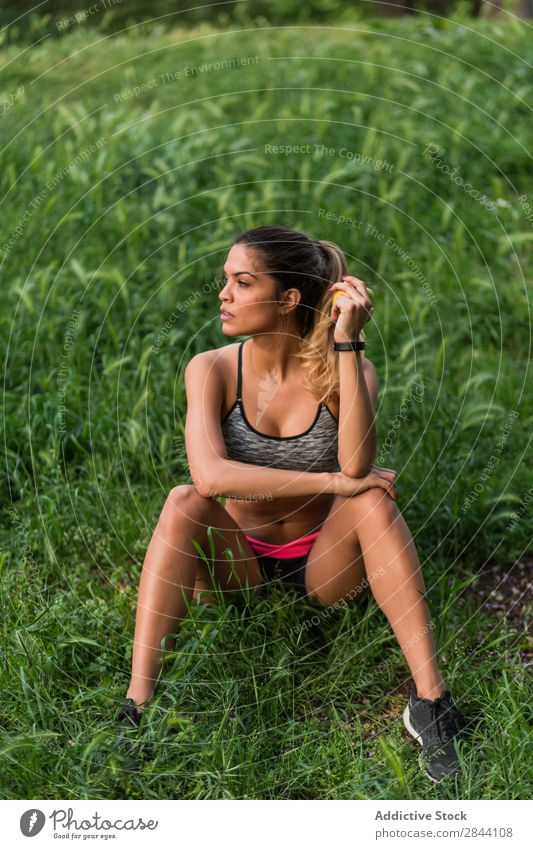Sportswoman posing on a park Woman workout Green Stretching Park Sportswear Action Flexible Concentrate Warming up Practice Inspiration Street sportswoman Town