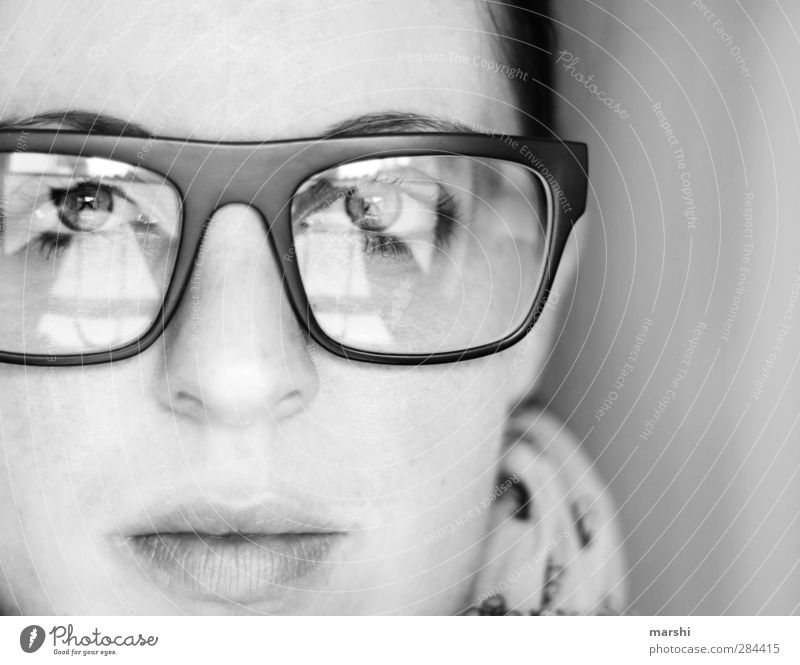 transparency Style Human being Young woman Youth (Young adults) Woman Adults Face 1 Emotions Moody Eyeglasses Person wearing glasses Spectacle frame Four-eyes