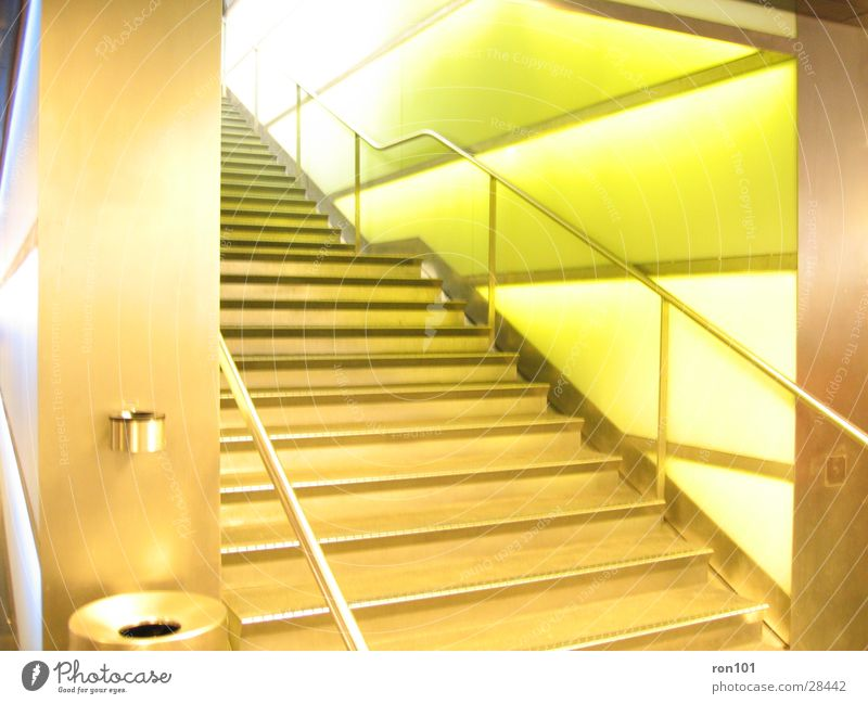 stairs Wall (building) Green Ashtray Trash container Architecture Stairs Handrail Lighting
