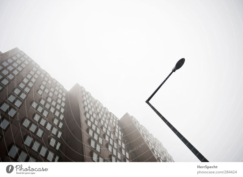 Beautiful Window Dark Architecture Gray Building Brown Facade Fog Modern High-rise Esthetic Gloomy Threat Creepy Street lighting