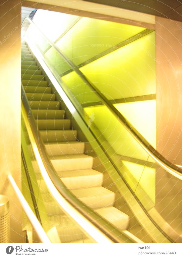escalator Escalator Wall (building) Green Light Architecture Lighting Stairs