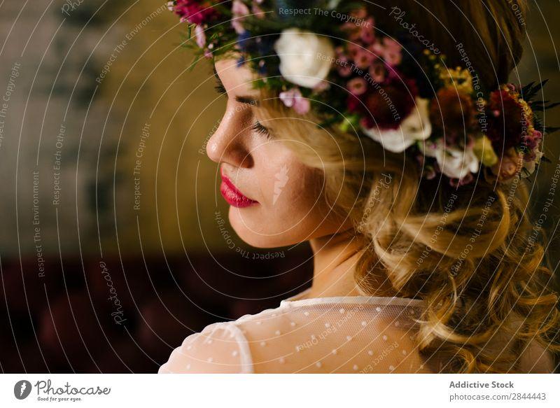 Pretty woman wearing flower garland Woman chaplet Paper chain Wreath eyes closed To enjoy pretty Flower Headdress Bride Elegant Dress Beauty Photography Smock