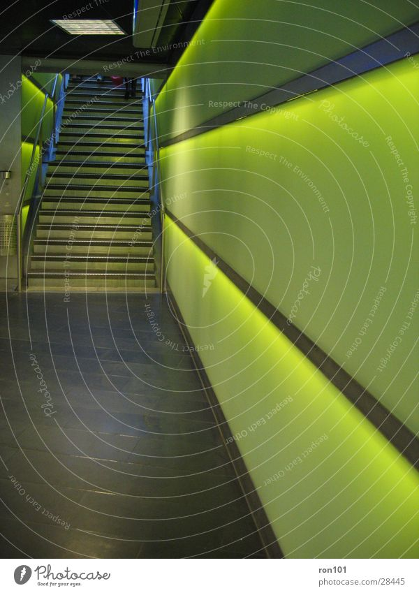 The Wall Wall (building) Light Green Architecture Stairs Handrail Lighting
