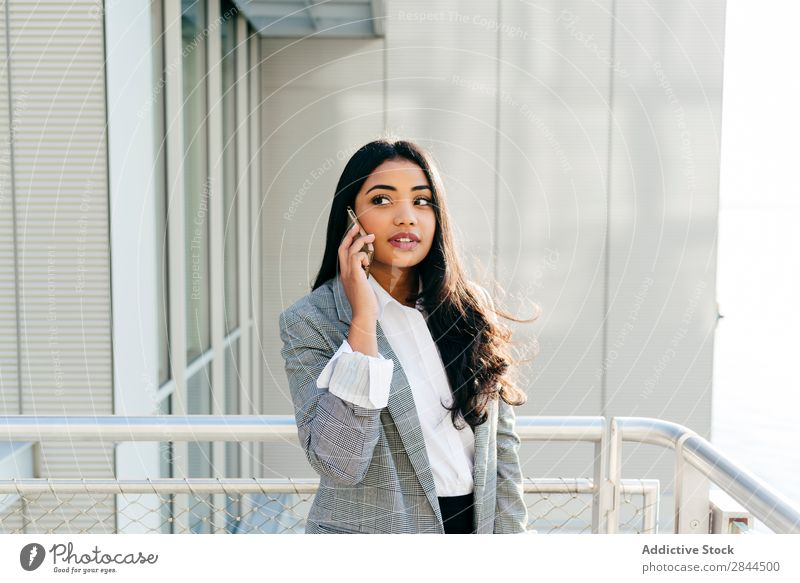 Stylish woman in jacket talking phone Woman Style PDA To talk Technology Balcony Happy Beautiful Youth (Young adults) Communication Mobile pretty Smiling