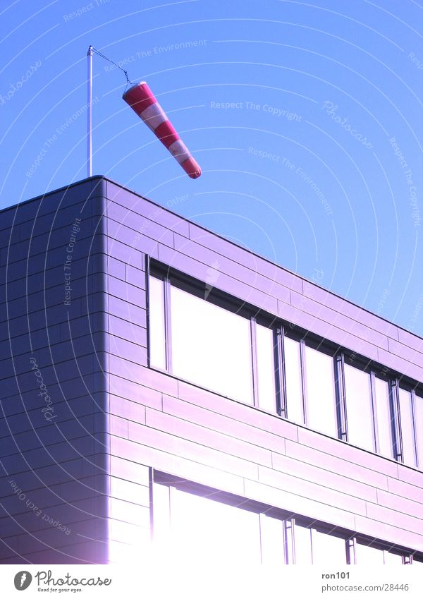 westerly Building Wind direction Red Window Architecture Corner air sac Blue Sky Sun